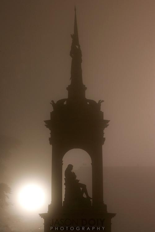 Golden Gate Park. De Young 4:45am. Statue in Concourse under construction.<br /> <br /> 2-3-06