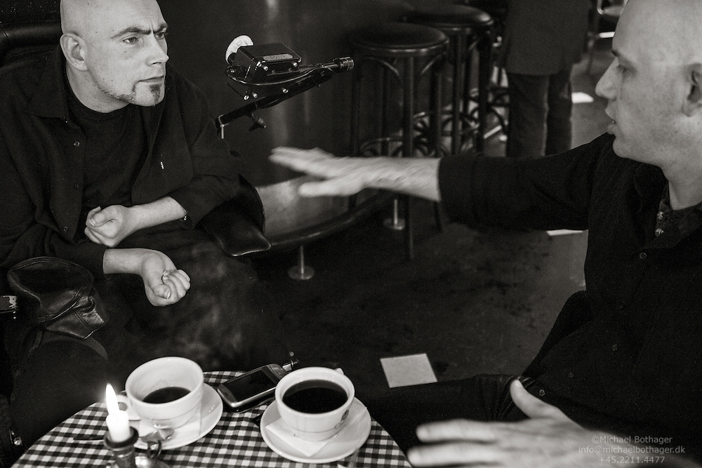 As a child, Steffen was severely injured in a car accident, leaving him quadriplegic. 24 hours a day, 7 days a week, he relies on the helpers for everything. <br /> <br /> Steffen drinks coffee with his friend, Ian, at Cafe Vestergade in Aarhus.