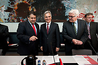18 MAY 2010, BERLIN/GERMANY:<br /> Sigmar Gabriel (L), SPD Parteivorsitzender, Werner Faymann (M), SPOE, Bundeskanzler Oesterreich, Frank-Walter Steinmeier (R), SPD Fraktionsvorsitzender, vor Beginn der SPD Fraktionssitzung, Deutscher Bundestag<br /> IMAGE: 20100518-01-027<br /> KEYWORDS: Sitzung