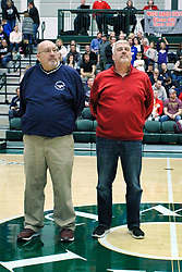 26 January 2019: Recognition of the IBCA Organization of they Year award during the McLean County Tournament at Shirk Center in Bloomington Illinois<br /> <br /> Charlie Hall, Terry Lutjens