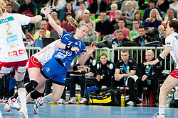 Nina Cristin Wort #7 of Krim during handball match between RK Krim Mercator (SLO) and Larvik HC (NOR) in second game of semi final of EHF Women's Champions League 2012/13 on April 13, 2013 in Arena Stozice, Ljubljana, Slovenia. (Photo By Urban Urbanc / Sportida)