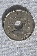Spanish peseta coin 25 centimos pre Euro currency