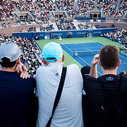 August 30, 2017 - New York, NY : Alexander Zverev, in white, competes against Borna Coric, in black, in the Grandstand on the third day of the U.S. Open, at the USTA Billie Jean King National Tennis Center in Queens, New York, on Wednesday. <br /> CREDIT : Karsten Moran for The New York Times