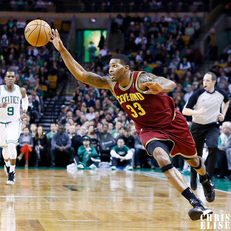 19 December 2012: Cleveland Cavaliers small forward Alonzo Gee (33) is seen on a fast break during the Boston Celtics 103-91 victory over the Cleveland Cavaliers at the TD Garden, Boston, Massachusetts, USA.