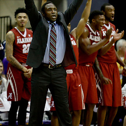 Jan 14, 2017; Baton Rouge, LA, USA; Alabama Crimson Tide head coach Avery Johnson reacts after a score against the LSU Tigers during the second half of a game at the Pete Maravich Assembly Center. Alabama defeated LSU 81-66. Mandatory Credit: Derick E. Hingle-USA TODAY Sports