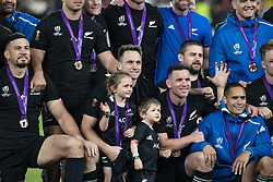 November 1, 2019, Tokyo, Japan: Players of New Zealand team pose for the cameras after winning the Bronze Final match between New Zealand and Wales during the Rugby World Cup 2019 at Tokyo Stadium. New Zealand defeats Wales 40-17. (Credit Image: © Rodrigo Reyes Marin/ZUMA Wire)