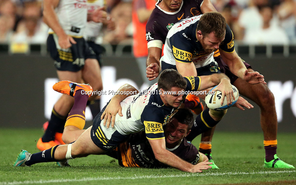 Lachlan Coote dives over for a double movement over Matt Gillett<br /> Broncos v Cowboys NRL Grand Final rugby league match at ANZ Stadium, Homebush Australia. Sunday 4 October 2015. Photo: Paul Seiser/Photosport.nz