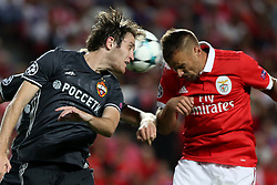 September 12, 2017 - Lisbon, Portugal - Benfica's Suisse forward Haris Seferovic (R ) heads the ball with CSKA's defender Mario Fernandes during UEFA Champions League football match SL Benfica vs CSKA Moscow at the Luz stadium in Lisbon, Portugal on September 12, 2017. Photo: Pedro Fiuza  (Credit Image: © Pedro Fiuza/NurPhoto via ZUMA Press)