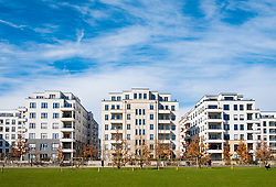 View of Gleisdreieck Park with modern new luxury housing adjacent in Berlin, Germany