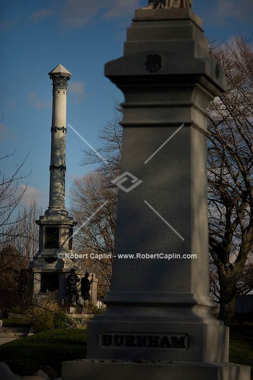 Battle Hill Monument, left, that commemorates Rev War at Green-Wood Cemetery in Brooklyn. Nov. 17, 2008.
