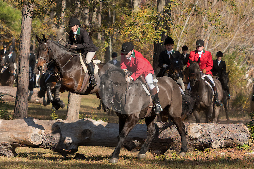 Riders jump a log during the start of the Fox Hunting season at Middleton Place Plantation November 27, 2016 in Charleston, SC. Fox hunting in Charleston is a drag hunt using a scented cloth to simulate a fox and no animals are injured.
