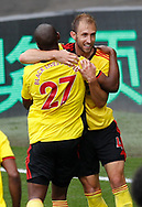 Craig Dawson of Watford celebrates scoring their equalising goal during the Premier League match at Vicarage Road, Watford. Picture date: 20th June 2020. Picture credit should read: Darren Staples/Sportimage