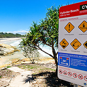 View of Cylinder Beach on Stradbroke Island's northeastern shore. North Stradbroke Island, just off Queensland's capital city of Brisbane, is the world's second largest sand island and, with its miles of sandy beaches, a popular summer holiday destination.