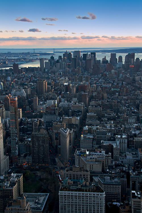 Panoramic View of Lower Manhattan at Dusk, New York, November 2008.