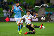 MELBOURNE, VIC - NOVEMBER 09: Melbourne City forward Bruno Fornaroli (23) competes with Wellington Phoenix defender Louis Fenton (16) at the Hyundai A-League Round 4 soccer match between Melbourne City FC and Wellington Phoenix on November 09, 2018 at AAMI Park in Melbourne, Australia. (Photo by Speed Media/Icon Sportswire)