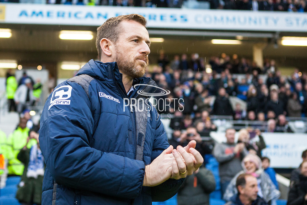 Birmingham City Manager Gary Rowett during the Sky Bet Championship match between Brighton and Hove Albion and Birmingham City at the American Express Community Stadium, Brighton and Hove, England on 28 November 2015. Photo by Bennett Dean.