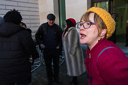 Anti-transgender feminist Venice Allan, 42, shouts at a group of of transgender rights activists demonstrate outside Westminster Magistrates' Court to &quot;Free the Shewolf&quot;, Tanis Jacob Wolf / aka Tara Flik Wood who is facing a charge of assault by beating of a 60 year old woman at Speaker&rsquo;s Corner in Hyde Park, London in September 2017.<br /> <br /> Wolf/Wood, 26, entered a plea of not guilty and was bailed to appear at Hendon Magistrates&rsquo; Court in two months&rsquo; time. London, February 15 2018.