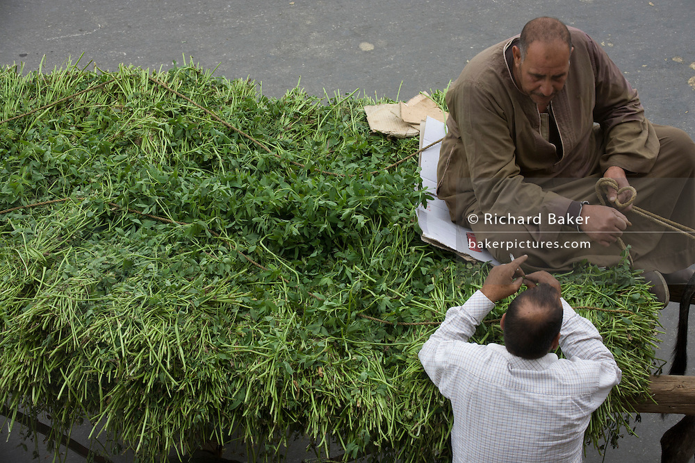 An aerial view of a conversation between two local men over a cart full of produce in the modern city of Luxor, Nile Valley, Egypt.