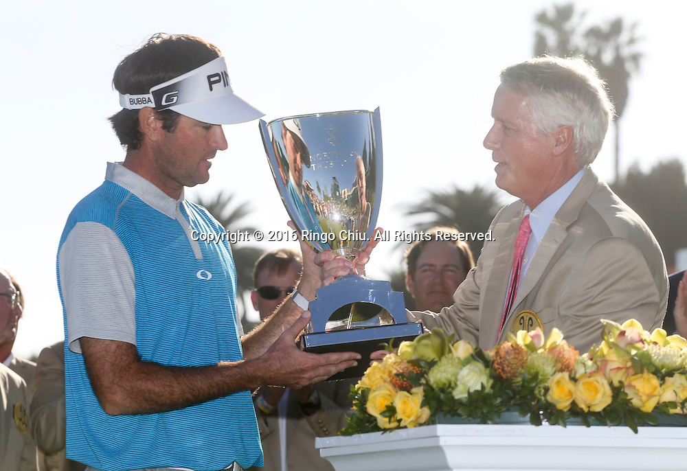 Bubba Watson receives the trophy after winning on the final round of the PGA Tour Northern Trust Open golf tournament at Riviera Country Club on February 21, 2016, in Los Angeles. Bubba Watson won the Northern Trust Open.(Photo by Ringo Chiu/PHOTOFORMULA.com)<br /> <br /> Usage Notes: This content is intended for editorial use only. For other uses, additional clearances may be required.