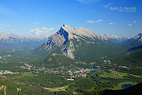 An aerial view of Mount Rundle, the Town of Banff and the Bow River Valley from high atop Mount Norquay in Banff National Park, Alberta, Canada