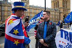 © Licensed to London News Pictures. 06/11/2018. London, UK. Right-wing activist Tommy Robinson (R) speaks with an anti-Brexit activist in Westminster. Photo credit: Rob Pinney/LNP