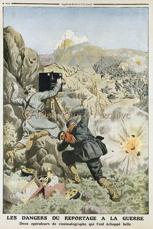 Cameramen under fire while filming an engagement while reporting on the First Balkan War, 1912-1913.  This war was between the Balkan League (Bulgaria, Greece, Serbia and Montenegro) against  the Turks (Ottoman Empire) an their repressive policies. From 'Le Petit Journal', (Paris, 3 November 1912).
