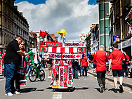 A street vendor outside the stadium<br /> <br /> Photographer Simon King/Replay Images<br /> <br /> Friendly - Wales v England - Saturday 17th August 2019 - Principality Stadium - Cardiff<br /> <br /> World Copyright © Replay Images . All rights reserved. info@replayimages.co.uk - http://replayimages.co.uk