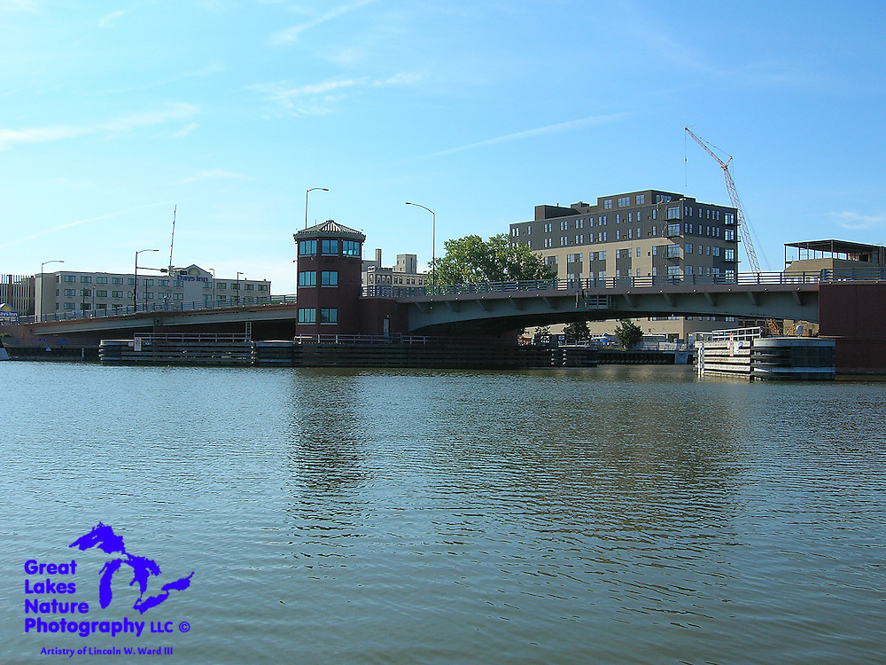 The Ray Nitschke Bridge carries Main Street over the Fox River in downtown Green Bay, Wisconsin.