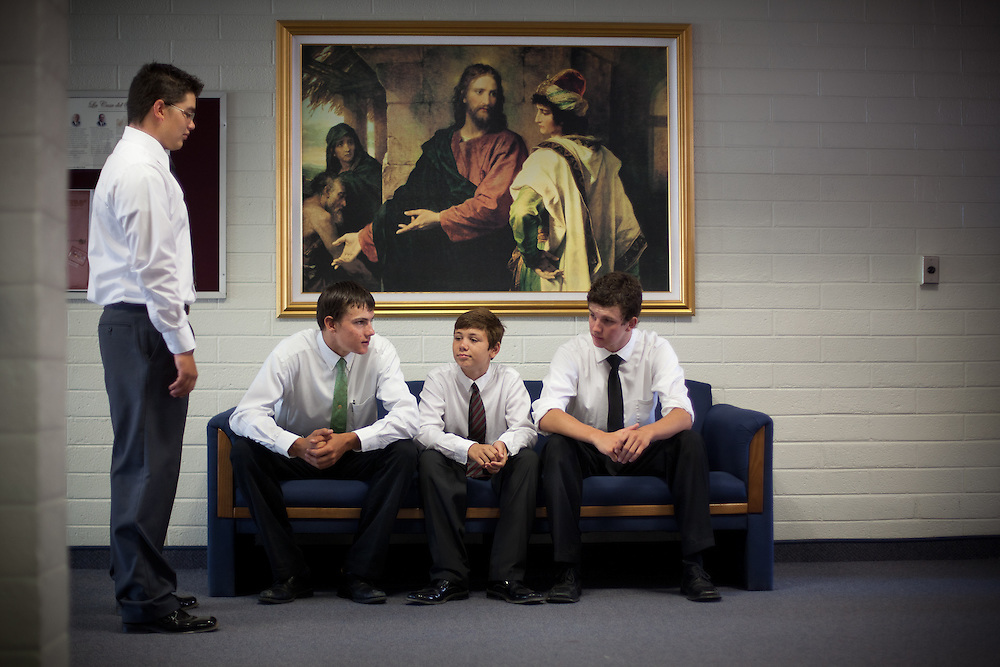 From left, Mason Spillsbury, 16, Braden Romney, 16, Mattison Spilsbury, 13, and Dallas Romney, 18, hang out before church service in Colonia Juarez, Mexico in July 2011. United States Presidential candidate Mitt Romney's family migrated to Mexico over 100 years ago after being granted asylum from Mexican President Porfirio Diaz after they had been pursued by the U.S. authorities for polygamy. ..(Romney is currently running for the Republican nomination.)