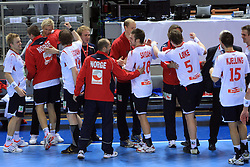 Team of Norway celebrate during 21st Men's World Handball Championship preliminary Group D match between Norway and Egypt, on January 19, 2009, in Arena Zatika, Porec, Croatia. Win of Norway 30:20.(Photo by Vid Ponikvar / Sportida)