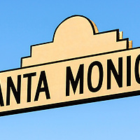 Picture of Santa Monica Boulevard street sign in Beverly Hills California. Photo was taken in May of 2012 and is high resolution.