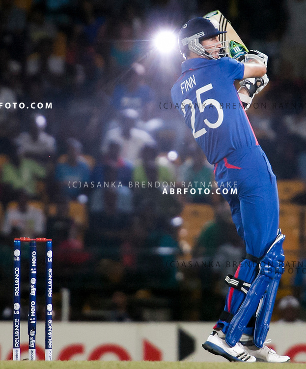Steven Finn batting during the ICC world Twenty20 Cricket held in Sri Lanka.