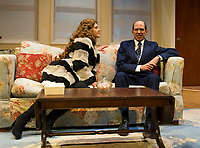 """Leigh Martha Klinger as Elaine Navazio and Marc Willis as Barney Cashman during dress rehearsal for """"Last of the Red Hot Lovers"""" with Winnipesaukee Playhouse on Wednesday afternoon.  (Karen Bobotas/for the Laconia Daily Sun)"""