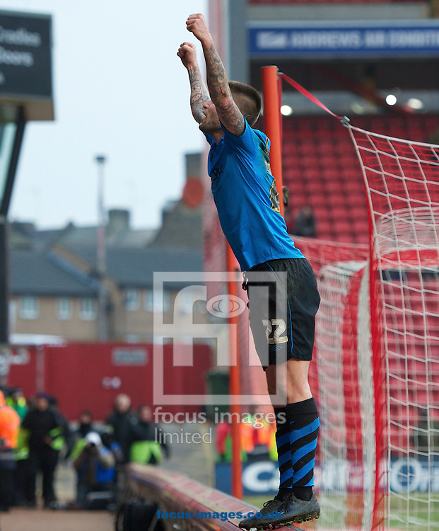 Picture by Alan Stanford/Focus Images Ltd +44 7915 056117.23/02/2013.Henri Lansbury of Nottingham Forest celebrates his goal  during the npower Championship match at The Valley, London.