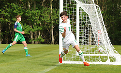 Republic of Ireland's Sean Kennedy celebrates his third goal against Northern Ireland during the U16 Uefa development tournament at United park Westport.<br /> Pic Conor McKeown