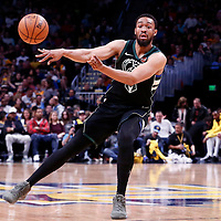 01 April 2018: Milwaukee Bucks forward Jabari Parker (12) passes the ball during the Denver Nuggets 128-125 victory over the Milwaukee Bucks, at the Pepsi Center, Denver, Colorado, USA.