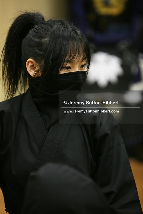 A modern day female ninja, from the Keizan group, in the Keizankai Dojo, in Ikebukuro district of Tokyo, Japan, Wednesday, March 25, 2009.