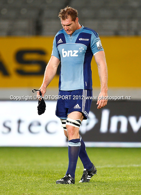 Dejected Blues player Ali Williams during the Super Rugby game between The Blues and The Sharks at Eden Park, Auckland New Zealand, Friday 13 April 2012. Photo: Simon Watts / photosport.co.nz