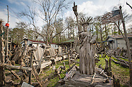 Pierre Part, Louisiana, March 18th, 2013, The Statue of Liberty made out of  Cypress drift wood by self-taught artist Adam Morales in front of his home and museum.   The Adam's Driftwood Museum  at the end of South Bay Road on the bayou is an off the beaten trail tourist destination.