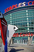 Staples Center Sports Arena, Exterior Glass, Steel, Concrete Building, Vertical