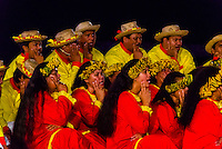Te Ohi Vaihonuroa choir performing during the Heiva i Tahiti (July cultural festival), Place Toata, Papeete, Tahiti, French Polynesia.