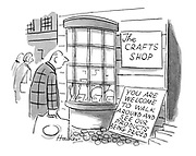 (A man in front of a craft shop looks at a sign saying: 'You are welcome to walk around and see out products being priced.')