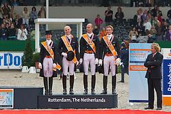Team Netherlands Bronze medal<br /> Adelinde Cornelissen, Sander Marijnissen, Hans Peter Minderhoud, Edward Gal, chef d'equipe Sjeff Jansen<br /> European Championship Dressage - Rotterdam 2011<br /> © Dirk Caremans