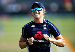 Lauren Winfield of England smiles during the warm up - Mandatory by-line: Robbie Stephenson/JMP - 09/07/2017 - CRICKET - Bristol County Ground - Bristol, United Kingdom - England v Australia - ICC Women's World Cup match 19