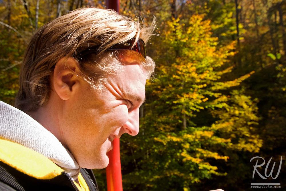 Jeff Pospichal Enjoys the Skylift Tram Ride at Natural Bridge State Resort Park, Kentucky