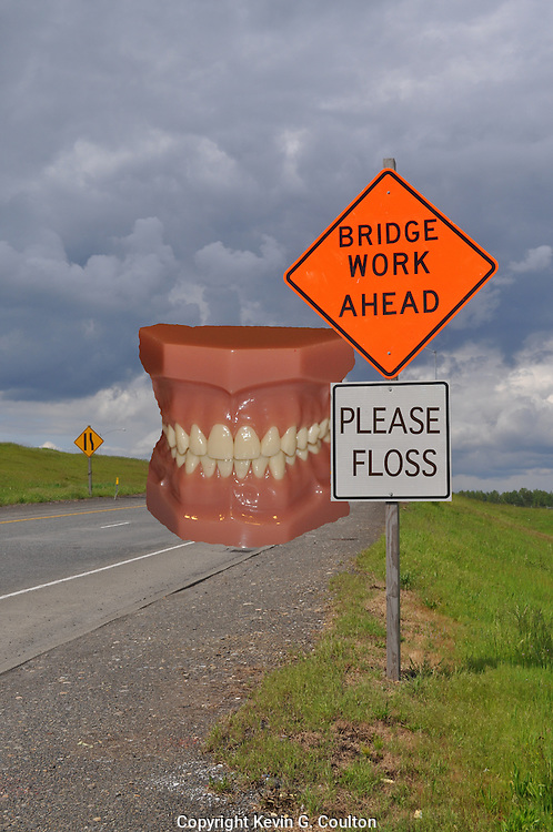 Humorous photograph of a BRIDGE WORK AHEAD temporary traffic control sign with a supporting sign reading PLEASE FLOSS and an enlarged set of a dental bridgework model behind the sign.