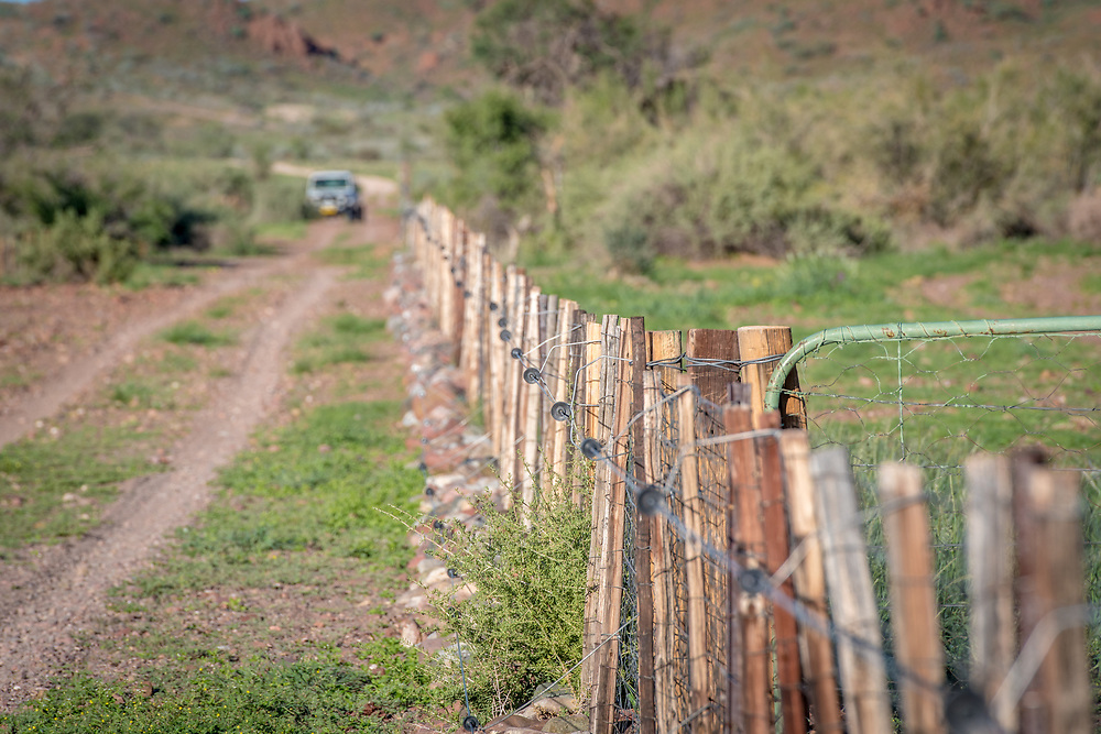 Detail of fence wiring at Dabis Guest Farm in Helmeringhausen, southern Namibia, Africa.