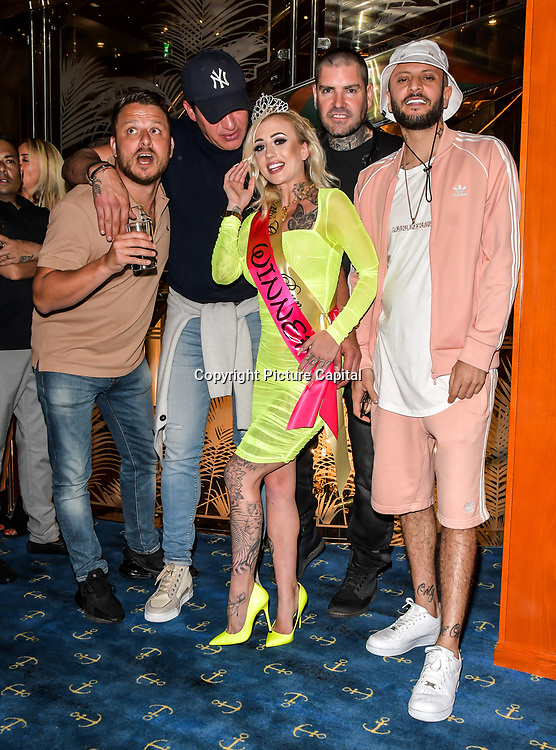 The Cannon Run bikini girls Judge Dapper Laughs, Tamer Hassan, Shane Lynch, ManLikeHaks and the winners Little Miss Loon (1st) at the Driving holiday experience hosts yacht party at The Sunborn Yacht, Royal Victoria Dock on 31 May 2019, London, UK.