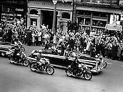President Kennedy parades though Dublin.  The crowd on O'Connell Street cheers as the President passes..26.06.1963