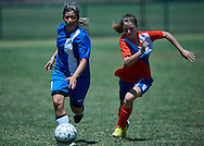 SO Russia athlete (L) fights for the ball with SO Greece athlete (R) while football women match 7-a-side during fourth day of the Special Olympics World Games Los Angeles 2015 on July 28, 2015 at Balboa Sports Centre in Los Angeles, USA.<br /> USA, Los Angeles, July 28, 2015<br /> <br /> Picture also available in RAW (NEF) or TIFF format on special request.<br /> <br /> For editorial use only. Any commercial or promotional use requires permission.<br /> <br /> Adam Nurkiewicz declares that he has no rights to the image of people at the photographs of his authorship.<br /> <br /> Mandatory credit:<br /> Photo by © Adam Nurkiewicz / Mediasport